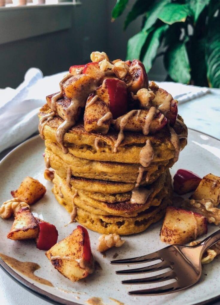 Spiced Apples Paleo Pumpkin Pancakes