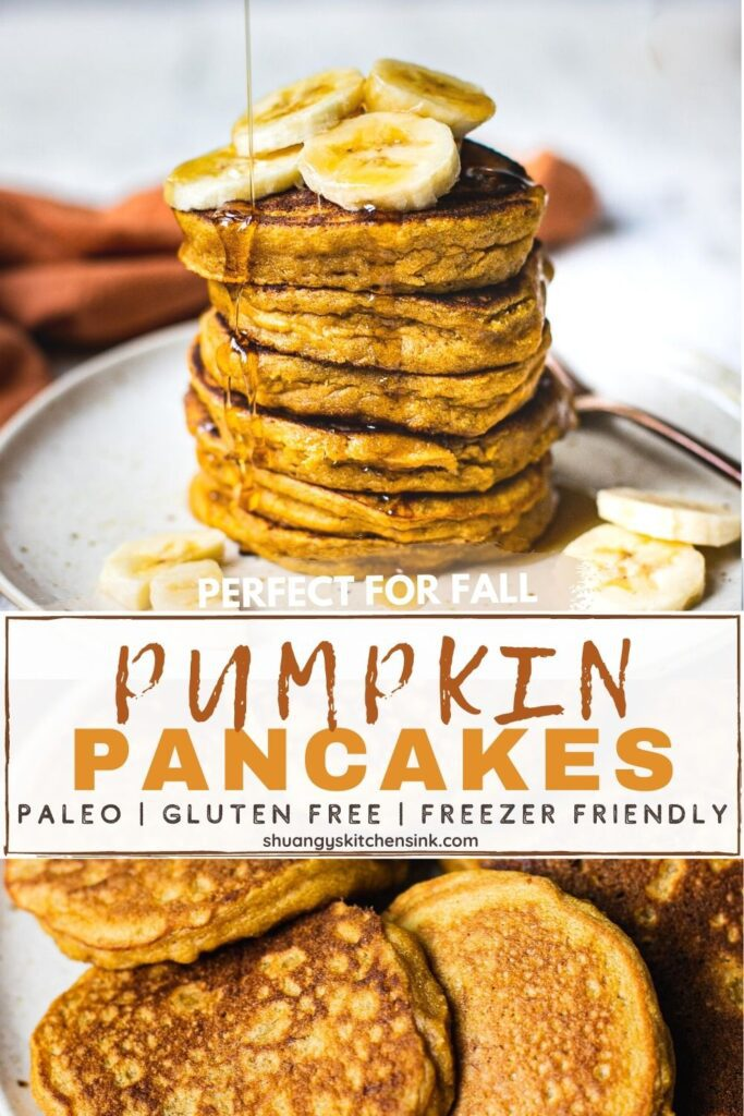 A stack of fluffy pumpkin pie pancakes topped with bananas and are drizzled with maple syrup