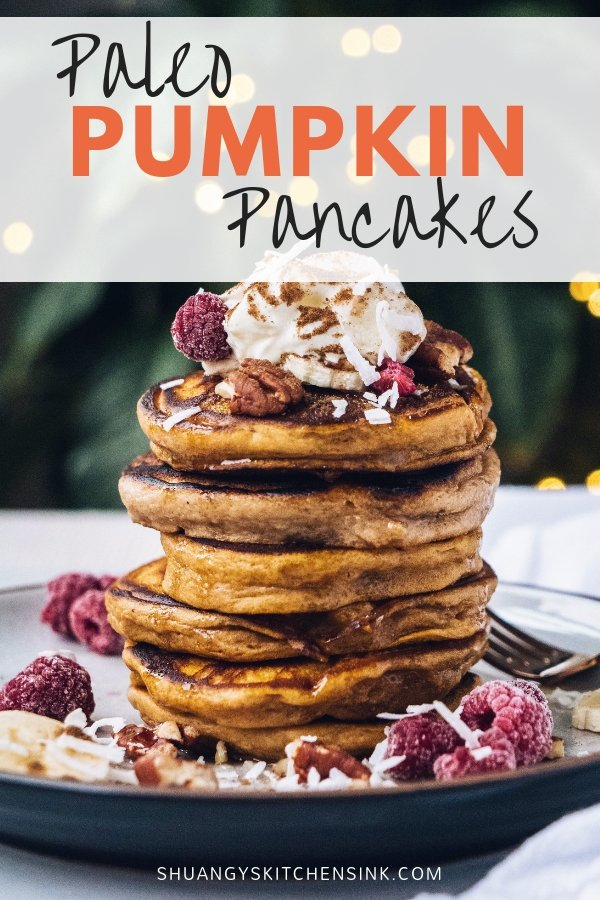 Spiced Apple Paleo Pumpkin Pancakes | This healthy pancakes recipe makes a stack of fluffy pancakes that are Paleo friendly, gluten-free, & refined sugar-free. It's also nut-free so it's safe for anyone with nut allergies. You'll love this healthier alternative to traditional pancakes or an easy healthy breakfast. | Shuangy's Kitchen Sink #shuangyskitchensink #paleo #glutenfree #nutfree #pancakes #healthypancakes #pumpkinpancakes #easypancakes #nutfreerecipes #paleopancakes #glutenfreepancakes