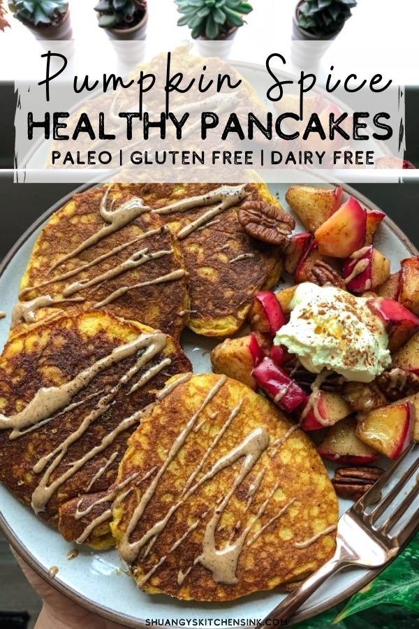 A plate of gluten free pumpkin pancakes that appear to be fluffy and golden brown. Topped with cinnamon apples and almond butter, the perfect healthy breakfast.