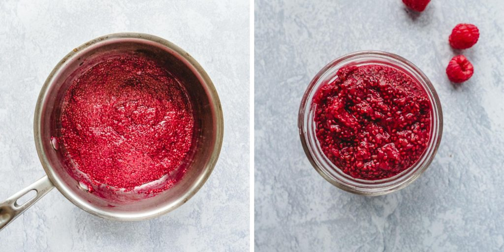 Instruction on how to make raspberry chia jam step by step.