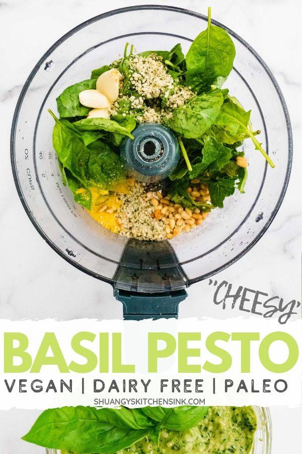vegan dairy free basil pesto pinterest image