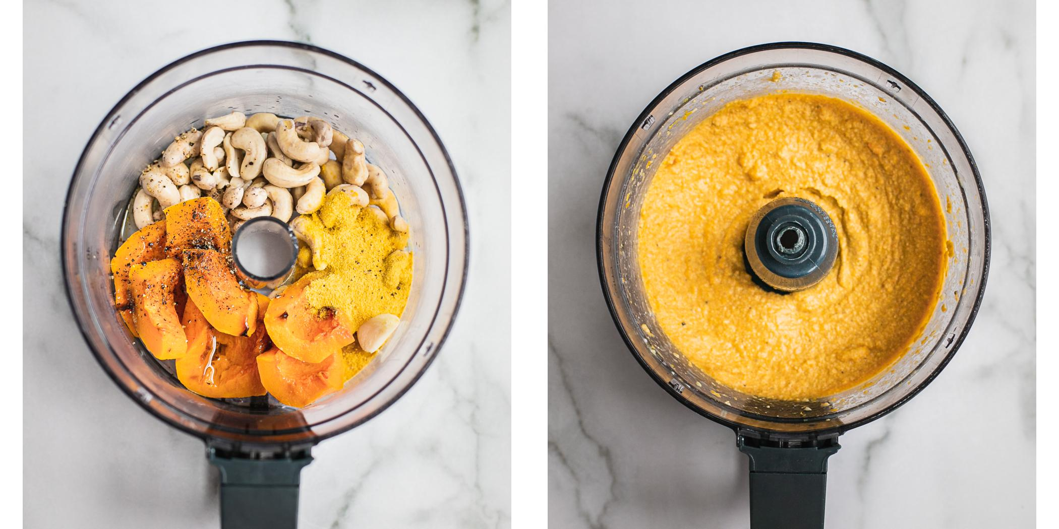 Instruction on how to make vegan butternut squash cheese sauce in a food processor