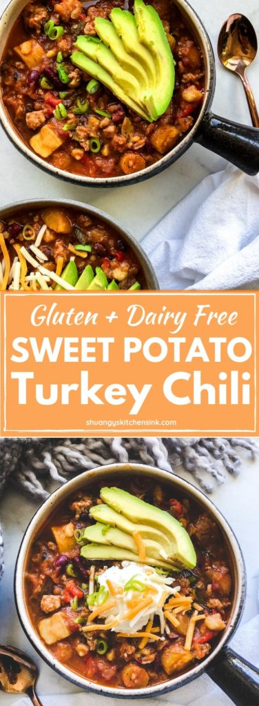 Sweet potato chili | This instant pot sweet potato ground turkey chili is the best healthy and quick gluten free and dairy free dinner recipe. It is super easy to make in instant pot under 30 minutes! It is the perfect healthy chili dinner to share with your family | Shuangy's Kitchen Sink #shuangyskitchensink #glutenfree #sweetpotato #turkeychili #healthychili #chilirecipe #realfoodrecipes #instantpot #dairyfree #easydinner #dinnerrecipe #healthydinner
