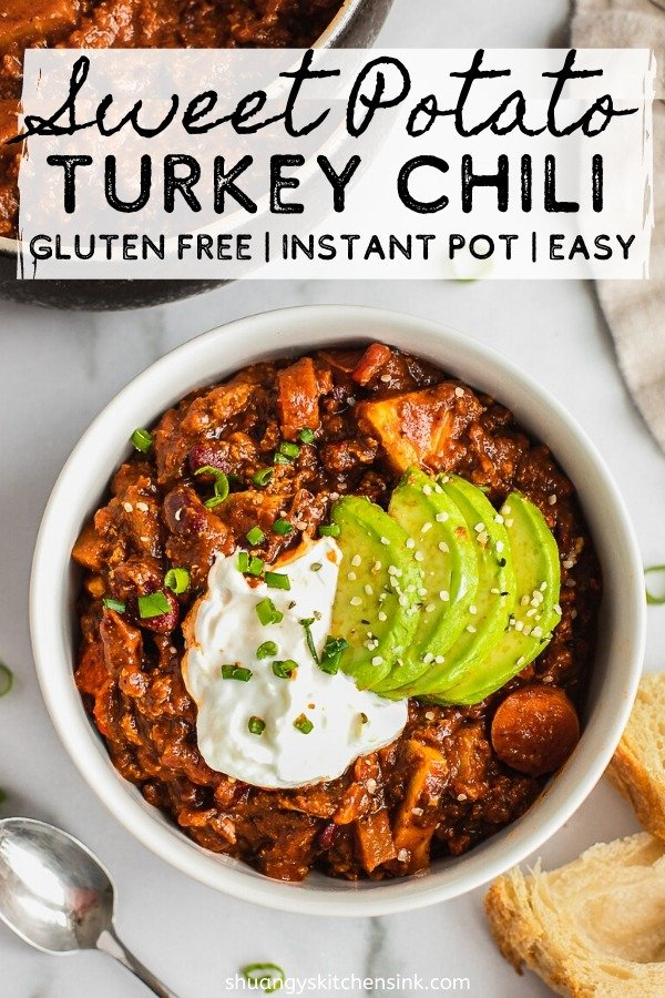 Instant Pot Turkey Sweet potato chili | Looking for a cozy dinner recipe for this chili weather? This instant pot sweet potato turkey chili is the best healthy, easy, gluten free and dairy free dinner recipe. It is healthy, hearty and so easy to make in an instant pot or crockpot. It is the most perfect healthy dinner recipe to share with your family | #shuangyskitchensink #glutenfree #sweetpotato #healthydinner #healthychili #chili #crockpot #instantpot #dinnerrecipe #souprecipe #dairyfree
