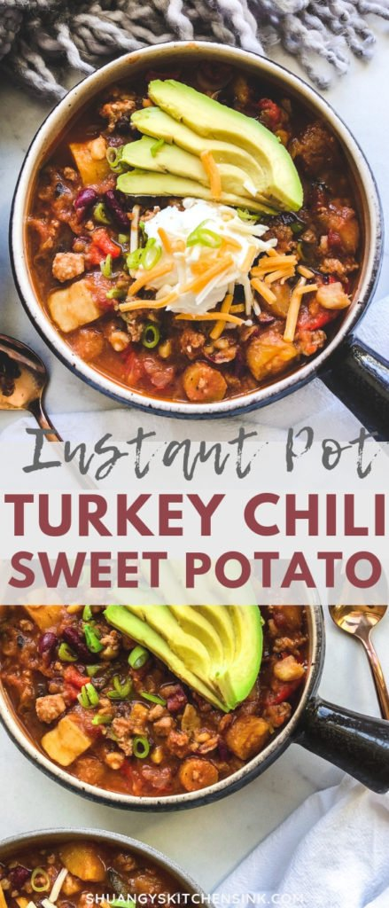 Sweet potato chili | This sweet potato ground turkey chili is the best healthy and quick gluten free dinner recipe. It is gluten free, dairy free and super easy to make it in a slow cooker or instant pot in 30 minutes! | Shuangy's Kitchen Sink #shuangyskitchensink #glutenfree #sweetpotato #turkeychili #healthychili #chilirecipe #realfoodrecipes