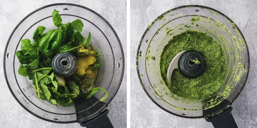 Vegan Basil Pesto | This homemade vegan pesto recipe is the best healthy alternative to the store-bought version. It's dairy-free and gluten-free and a super easy recipe to make. Add it to your favorite gluten-free pasta for an easy gluten-free dinner! | Shuangy's Kitchen Sink #shuangyskitchensink #vegan #glutenfree #dairyfree #veganpesto #easypesto #pestorecipes #basilpesto #realfoodrecipes
