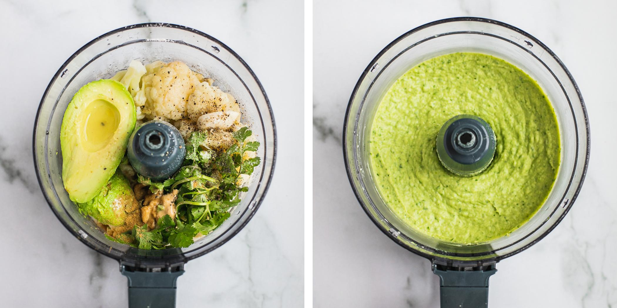 Instruction on how to make whole30 friendly chickpea free avocado hummus. There are two blenders photos taken at different times, one before blending, one after blending.