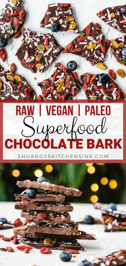 gluten-free chocolate bark pieces topped with superfoods, such as goji berries, blueberries, pistachios and coconut.