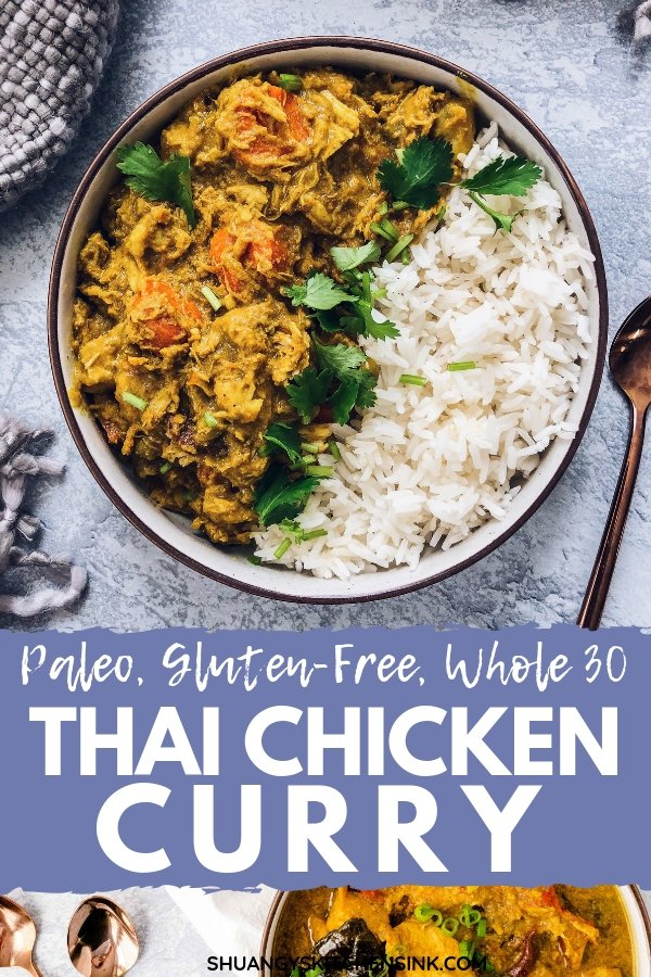 Crockpot Thai Curry Chicken recipe | This healthy crockpot curry chicken recipe is made with coconut milk, sweet potato and all the sweet and spicy thai herbs. It is Paleo, gluten free, dairy free and Whole 30 compliant. You can serve jasmine rice or  cauliflower rice with this easy slow cooker thai yellow curry recipe for thai yellow curry for an easy and healthy dinner! | Shuangy's Kitchen Sink #ShuangysKitchenSink #Whole30 #paleo #glutenfree #dairyfree #curry #curryrecipe #slowcooker #crockpot #thaifood #thaicurry #healthydinner #Thairecipe #Thaifood #healthyrecipe #easyrecipe #yellowcurry