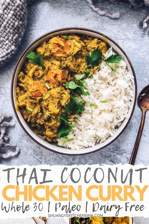 Crockpot Thai Curry Chicken recipe | This healthy crockpot curry chicken recipe is made with coconut milk, sweet potato and all the sweet and spicy thai herbs. It is Paleo, gluten free, dairy free and Whole 30 compliant. You can serve jasmine rice or cauliflower rice with this easy slow cooker thai yellow curry recipe for thai yellow curry for an easy and healthy dinner! | Shuangy's Kitchen Sink #ShuangysKitchenSink #Whole30 #paleo #glutenfree #dairyfree #curry #curryrecipe #slowcooker #crockpo