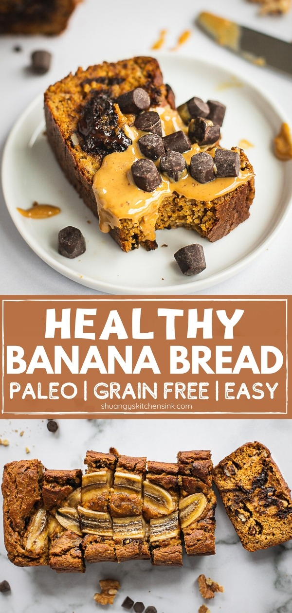 A slice of banana bread with some chocolate chips and peanut butter on top.