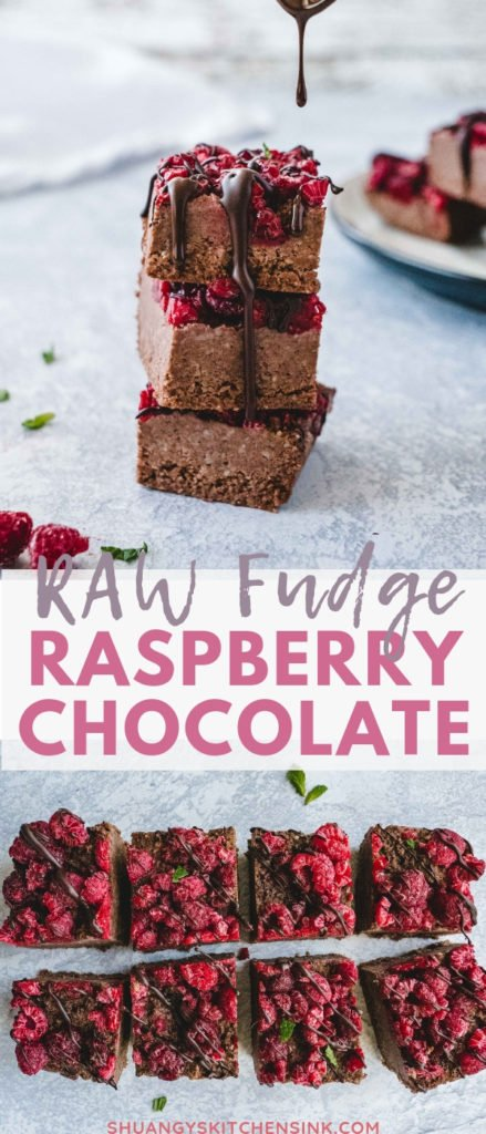 Vegan Raspberry Chocolate Bars| This raw vegan fudge is delicious, sweet and chewy! It's a gluten-free, dairy-free recipe that makes a perfect healthy snack for a quick afternoon pick-me-up, pre-workout snack or night cap dessert. It's super easy to make and you can store them in the freezer for months. Shuangy's Kitchen Sink #shuangyskitchensink #vegan #rawvegan #glutenfree #dairyfree #healthydessert #fudgerecipe