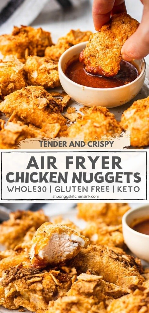 A plate of whole30 friendly air fryer chicken nuggets that is coated with almond flour and coconut flour. There is a hand holding one keto chicken nugget to dip in the sauce.