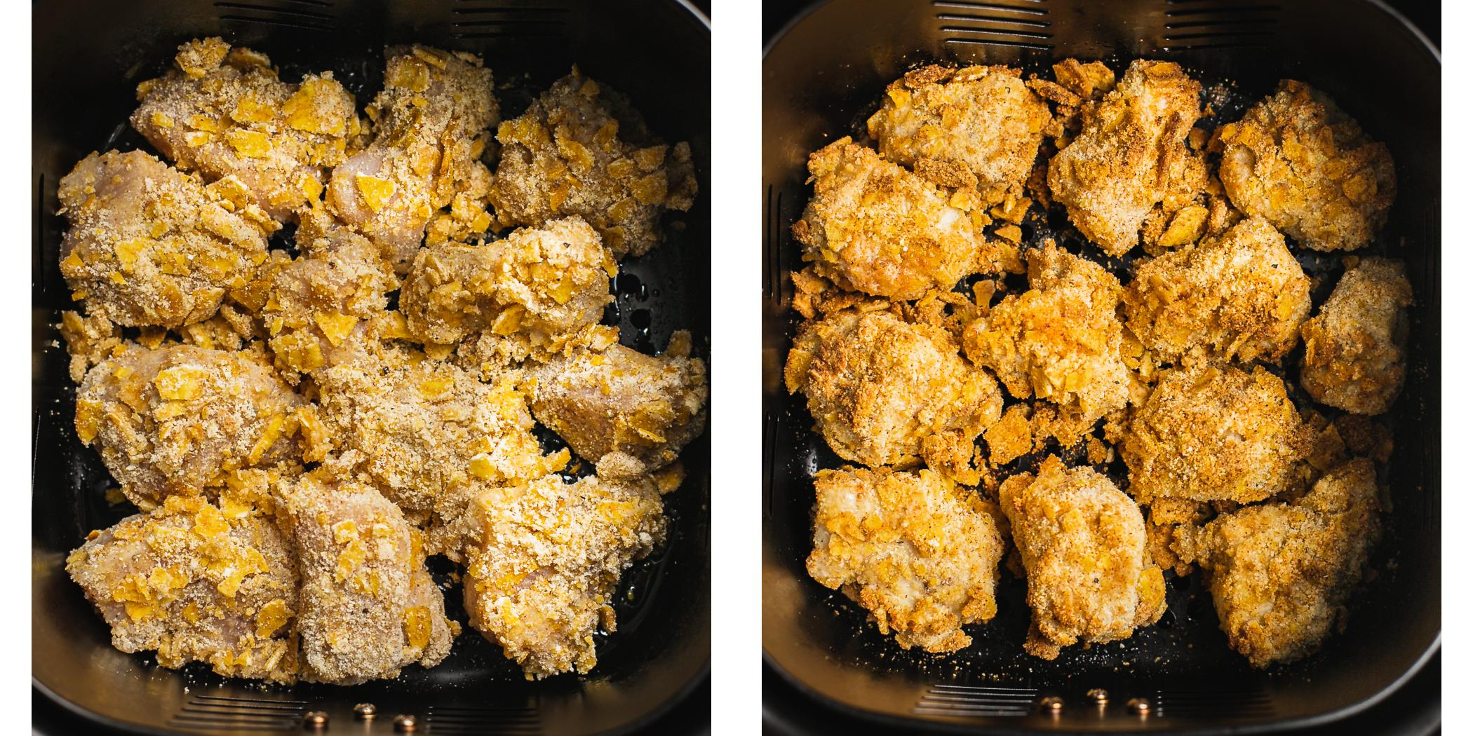 before and after picture of almond and coconut flour crusted healthy chicken nuggets in an air fryer