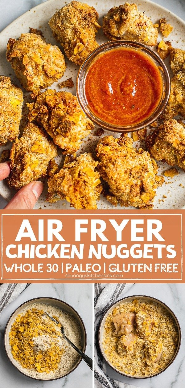 Pinterest picture for the Air Fryer Chicken nugget recipe