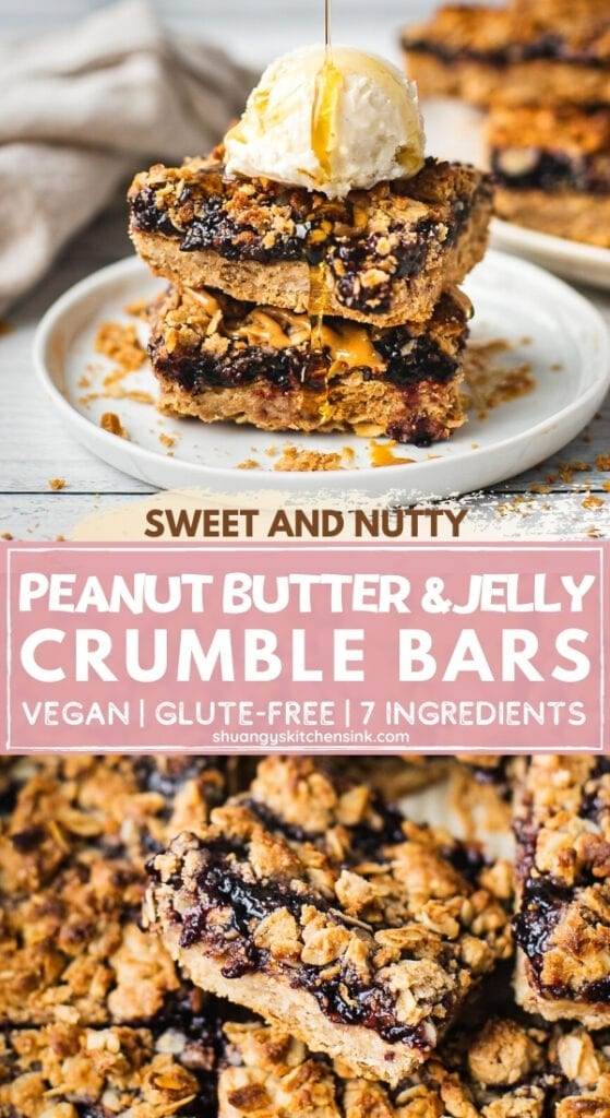A stack of PB&J Oatmeal Crumble Bars. The best kind of peanut butter oatmeal bars that's easy to make and healthy for you.