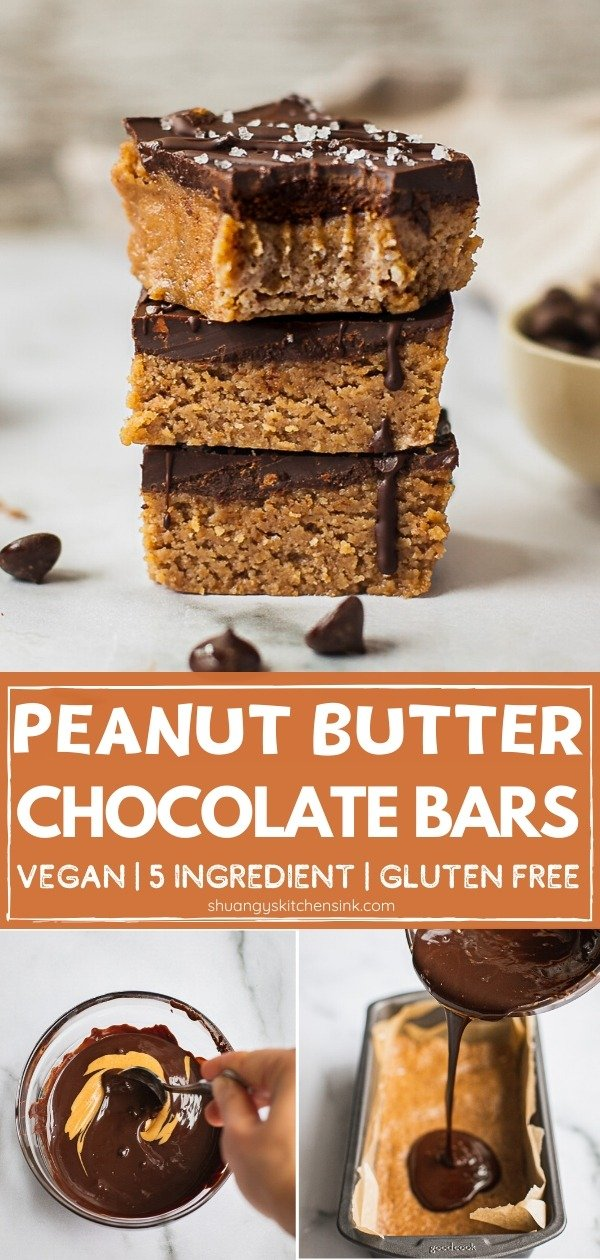 A stack of three peanut butter chocolate bars . The one on top has a bite in it. Pinterest Image