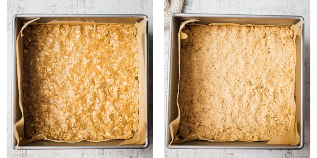 This is a two stop picture of how to make the base crust for a gluten-free oatmeal bake. The first picture is before it goes in the oven and the second when it has been baked to golden perfection.