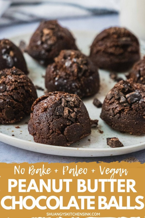 Pinterest picture of paleo and vegan no bake peanut butter chococlate balls