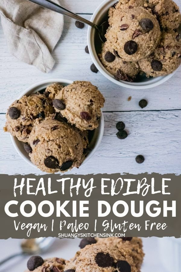 Healthy edible Cookie dough | This Healthy edible Cookie dough recipe is like magic. And is gooey, fudgy and so easy to make with only 4 simple ingredients. This cookie dough is also gluten free, paleo, vegan friendly, packed with healthy protein and fats. The perfect dessert and snack for kids too! | #shuangyskitchensink #cookiedough #vegandessert #glutenfreedessert #paleodessert #healthysnack #healthydessert