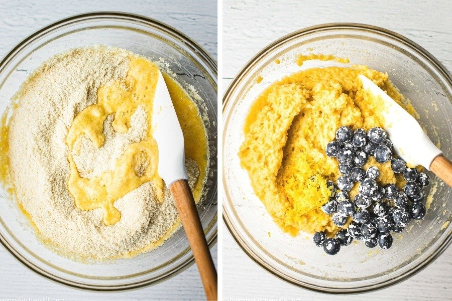 The first bowl shows gluten-free flowers being mixed with a dairy-free egg mixture. The second picture has blueberries and lemon zest added to the mix. There is a wooden spatula in the picture as well.