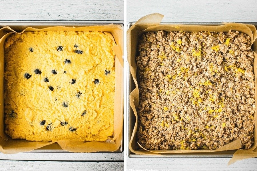 On the left there is a picture shot from above of the first layer of a lemon blueberry coffee cake. The picture on the right has added a crumbly lemon sugar topping added to the cake.