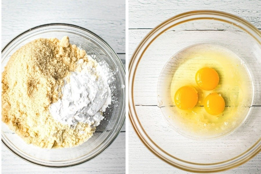 one bowl on almond flour, tapioca flour and keto-friendly sugar and one bowl with three eggs