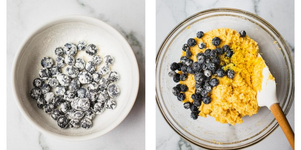 Step by step instruction on how to fold in blueberries into a lemon cake batter.