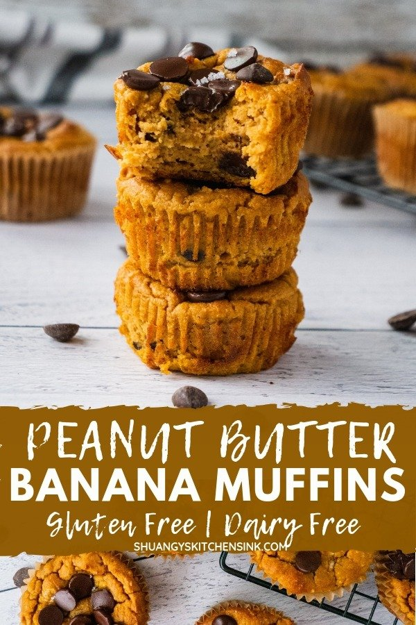 Healthy Peanut Butter banana muffins | These healthy Peanut Butter banana muffins are made with sweet potatoes, coconut flour and chocolate chips. They are the perfect healthy breakfast or a healthy dessert. Only a few ingredients, this healthy chocolate chip banana muffin recipe is so easy to make and are gluten free, dairy free, can be easily made paleo as well. | #shuangyskitchensink #peanutbutter #bananabuffin #chocolatechip #healthybreakfast #healthydessert #healthyrecipes #paleoprecipe