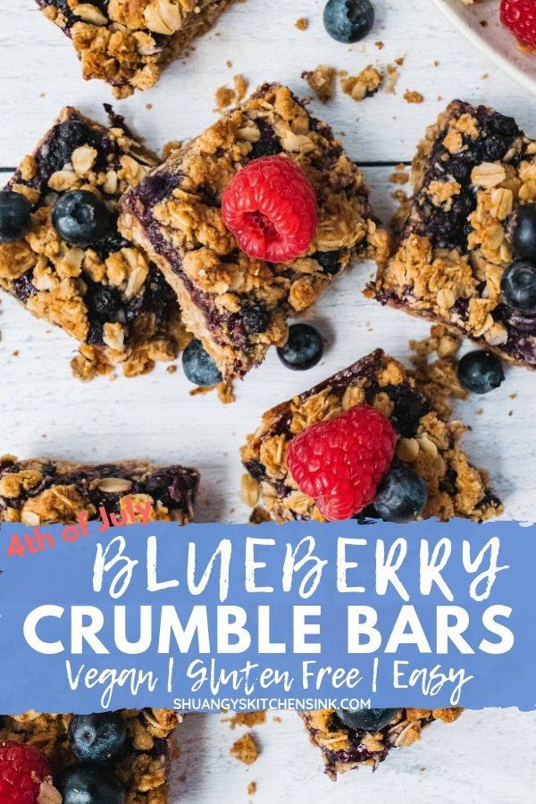 healthy vegan gluten free blueberry crumble bars pinterest image