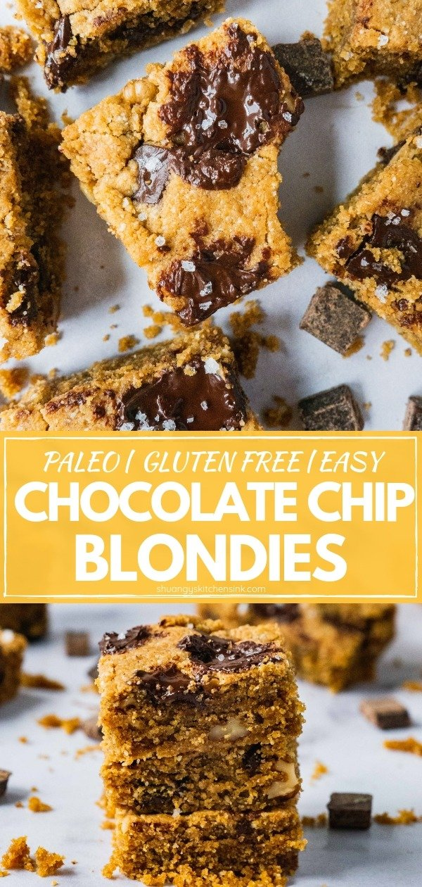 Chocolate Chip Blondies (Cookie Bars) | These healthy Chocolate Chip Blondie Bars are the best gluten free, dairy free, paleo dessert that are so easy to make. Crispy edges, gooey and buttery inside, topped off with dark chocolate chunks and flaky sea salt, these chocolate blondies are just the best paleo gluten free dessert for the whole family. |#healthydessert #chocolatechip #cookierecipe #paleodessert #glutenfreedessert #healthyrecipe #easydessert