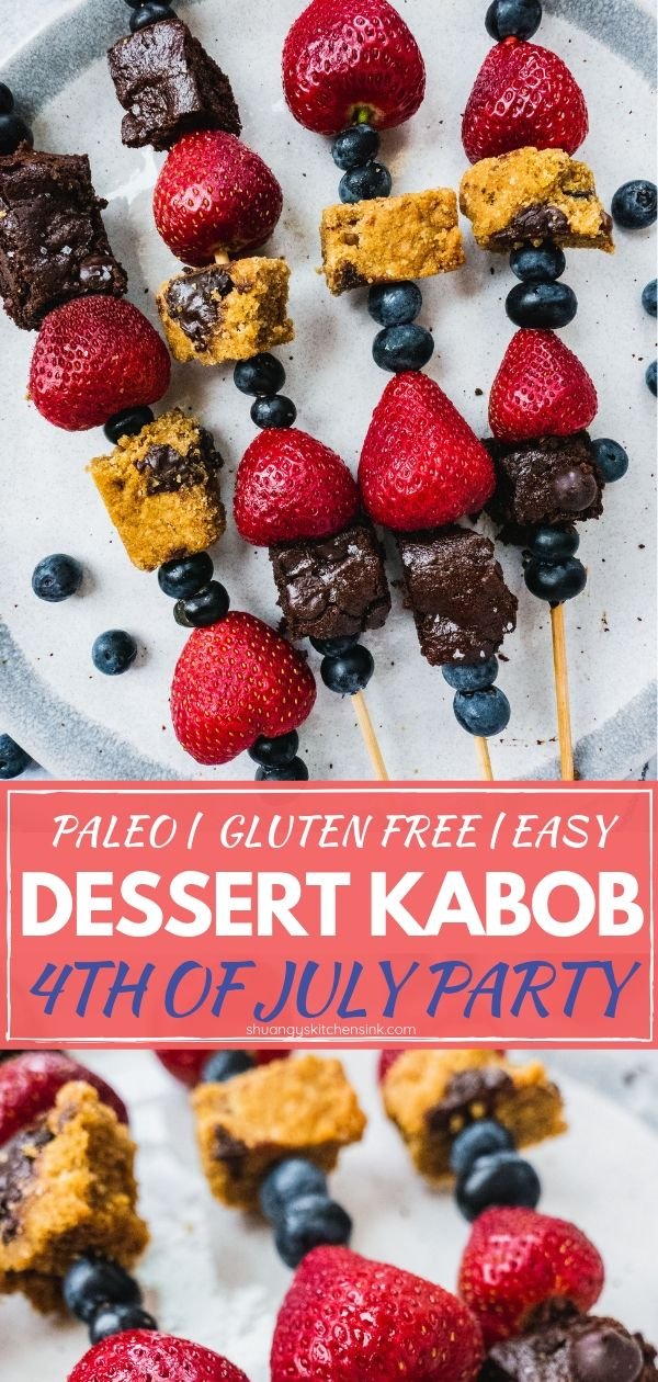4th of July Dessert Kabob | This 4th of July Dessert Kabob is made with fresh fruits, brownie bites and cookie bars. They are so easy to make, delicious and fun to bring to your summer party. And this healthy 4th of July dessert is gluten free, dairy free and paleo friendly. | #4thofjulyfood #4thofjulyrecipe #4thofjulyideas #healthyrecipe #patrioticfood #dessertrecipe