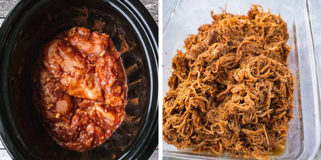 Crockpot Pulled Chicken (Masala)|This masala Crockpot Pulled Chicken is definitely one of my favorite slow cooker recipes. Not your traditional BBQ pulled chicken recipe! This healthy crockpot version is paleo, whole 30, dairy free, sugar free, gluten free and so easy to make. Make some pulled chicken sliders for your summer party to share with friends and family! | Shuangy's Kitchensink #paleorecipe #crockpot #pulledchicken #whole30 #whole30chicken #whole30recipe #healthydinner #slowcooker