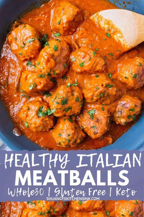 Paleo Italian Meatballs with Creamy Tomato Sauce pinterest image