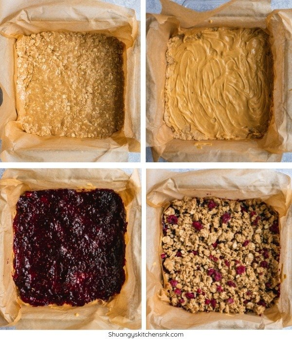 Step by step making this vegan, gluten free, dairy free and super easy to make recipe. It is filled with peanut butter and raspberry. Dessert for breakfast anyone?| #shuangyskitchensink #peanutbutter #veganbreakfast #veganrecipes #vegandessert #healthybreakfast #peanutbutterjelly #easybreakfast #healthyfood #oatmeal #oatmealbars