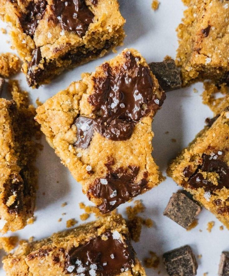 Chocolate Chip Cookie Blondie Bars (Paleo, Gluten Free)