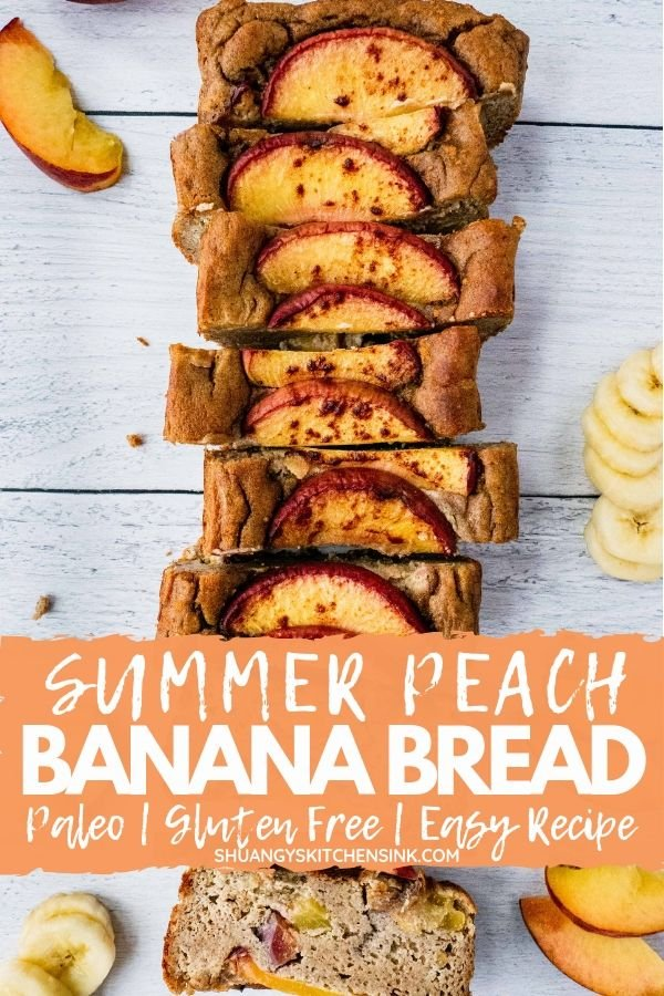 Paleo Banana Bread with Summer Peach | The best peach dessert recipe this summer –Paleo Banana Bread with juicy peaches. A combination of my favorite 5 ingredient banana bread and juicy summer peache. This healthy peach banana bread is paleo, gluten free, and super easy to make, totally a healthy breakfast, dessert, school snack recipe you need this summer. | #peachdessert #summerdessert #healthydessert #bananabread #paleodessert #glutenfree #glutenfreerecipe #glutenfreedessert