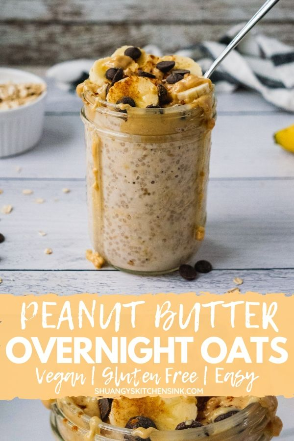 Peanut Butter Banana Overnight Oats | Peanut Butter Banana Overnight Oats is sweet, creamy and will keep you full all morning long. It only takes 5 minutes to put together the night before, and you have a healthy breakfast ready to go in the morning. It is vegan, gluten free, dairy free and refined sugar free. | #healthybreakfast #peanutbutterbanana #oatmeal #overnightoats #glutenfree #veganrecipe #veganbreakfast #breakfast