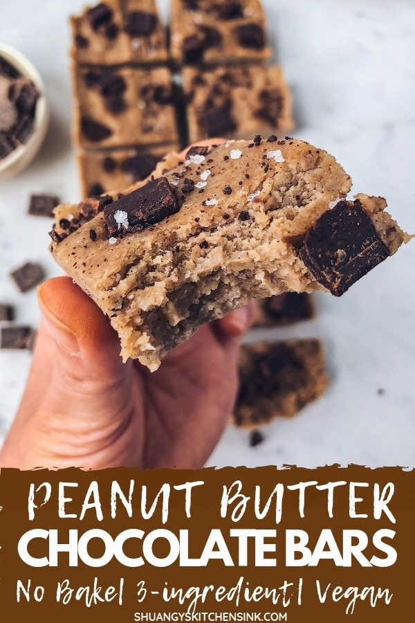 Peanut Butter Chocolate Bars | This Peanut Butter Chocolate Recipe is no bake and only require 3 ingredients. It is super easy to make and taste even better than Reese's Peanut Butter cup. But more healthy recipe! It is vegan, gluten free, dairy free, refined sugar free, keto, and low carb. Perfect healthy desert or snack recipe! | Shuangy's Kitchensink #keto #peanutbutter #chocolate #vegandessert #ketorecipe #healthydessert #healthysnack #easysnack