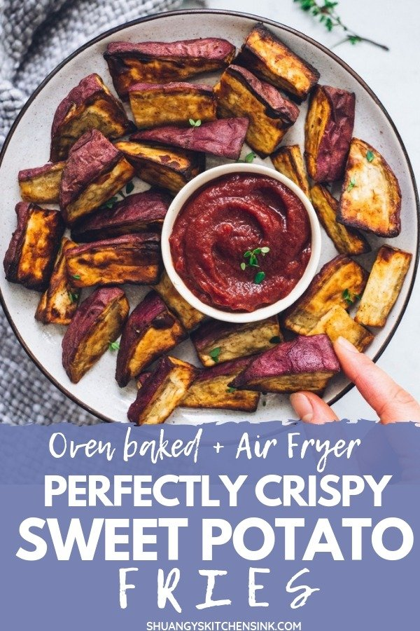 Crispy Sweet Potato Fries | This Healthy paleo sweet potato Fries recipe is the best clean eating alternative to the traditional potato fries. Using two of my favorite methods - oven-baked and air fryer, you end up with the most crispy sweet potato fries. This recipe is paleo, gluten free, vegan and whole 30 compliant. | Shuangy's Kitchensink #shuangyskitchensink #sweetpotato #fries #sweetpotatofries #paleo #glutenfree #veganrecipe #paleorecipe