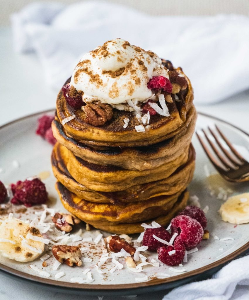 Paleo Sweet Potato Pancakes | This pancake recipe will give your family breakfast game a healthy twist! It is paleo, gluten free, sugar free, dairy free and super easy to make. Only made with simple ingredients like sweet potato, banana and eggs. It's the perfect healthy breakfast or brunch to share with your family! | #shuangyskitchensink #paleo #glutenfree #pancakerecipe #paleobreakfast #glutenfreepancakes #sweetpotato #paleorecipes #healthybreakfast #brunch