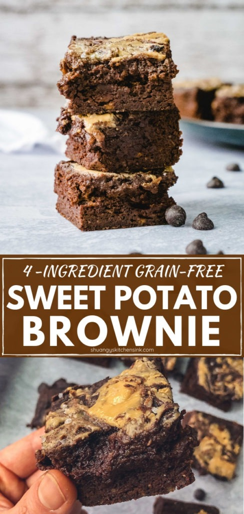 Healthy Flourless Sweet Potato Brownie | This healthy and easy flourless gooey brownie recipe is made with sweet potato and almond butter. These chewy brownies are packed with healthy fat protein and gluten free dairy free, refined sugar free, paleo, and can be made vegan easily. The best healthy alternative of brownie recipe you ever need! | #shuangyskitchensink #brownie #healthybrownie #healthydessert #sweetpotato #chocolate #paleodessert #paleo #glutenfree #dairyfree #dessertrecipe