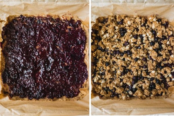 Instructions for making blueberry crumble bars : layering blueberry chia jam and crumble on top