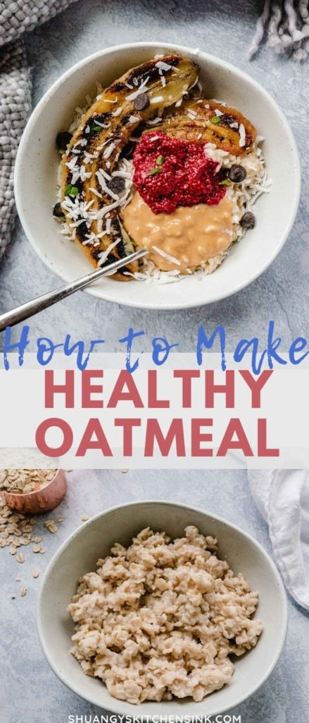 A healthy breakfast bowl with oatmeal, fried bananas, homemade raspberry jam, cashew butter, chocolate chips and coconut flakes.