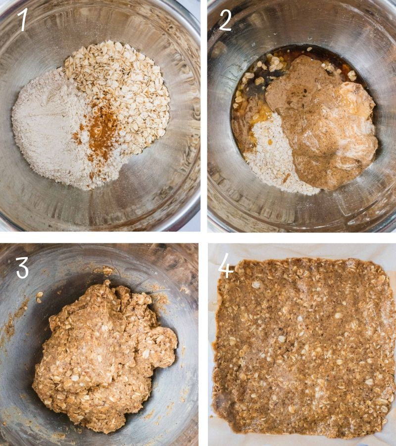 Step by step making Peach Crisp Crumble Bars crust