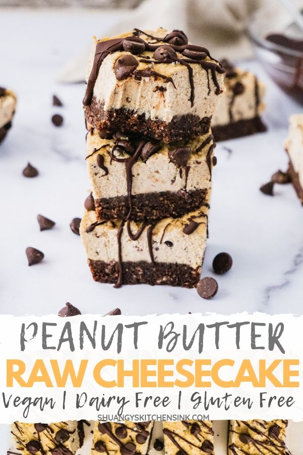 Peanut butter chocolate vegan cheesecake | This healthy vegan cheesecake recipe is one of my favorite vegan dessert. Stuffed with peanut butter and chocolate, these cashew cheesecake bites are creamy, fluffy and so delicious. It is dairy free, gluten free, can be easily made paleo. | Peanut Butter Chocolate Vegan Cheesecake | #vegandessert #vegancheesecake #peanutbutterchocolate #chocolatecake #veganrecipe