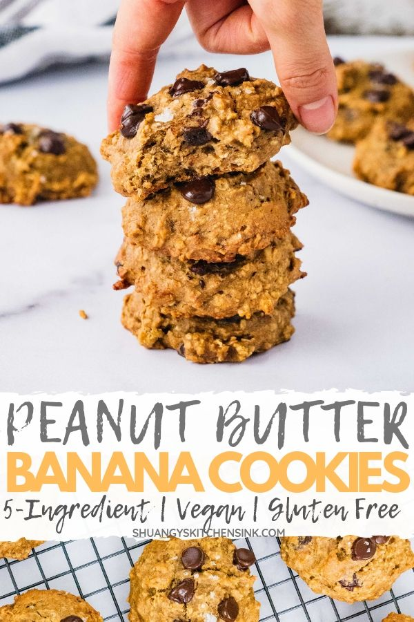 Peanut Butter Banana Oatmeal Cookies | These 5-Ingreident Peanut Butter Banana Oatmeal Cookies may be the Easiest and healthy cookies recipe out there. They are so soft, chewy. Also rich in peanut butter and banana flavor with chocolate chip and sea salt. You won't believe these delicious dessert for breakfast cookies are vegan, gluten free and refined sugar free.| #healthycookies #peanutbutter #oatmealcookies #peanutbutterbanana #oatmeal #bananaoatmeal #chocolatechips