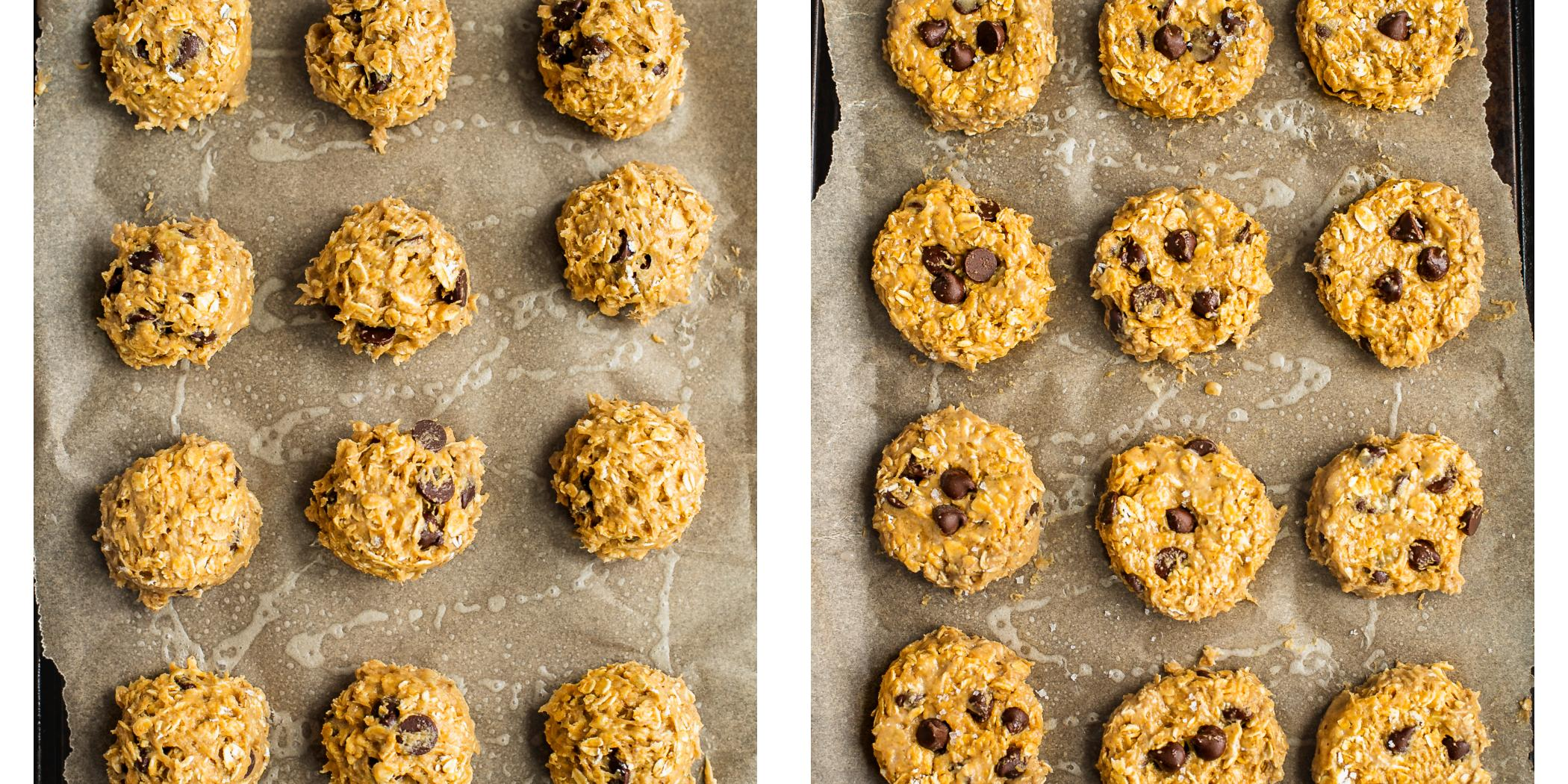 Instruction on how to make peanut butter oatmeal cookies.
