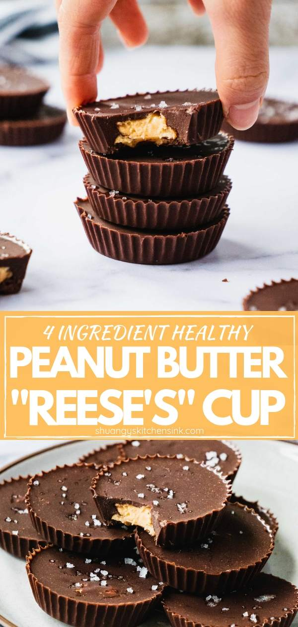 Healthy Peanut Butter Cups | Homemade Healthy Peanut Butter Cups with just 4 simple Ingredients! This recipe is refined sugar free, vegan, and can be easily made paleo too. This peanut butter cup recipe is so easy to make and way better than Reese's Peanut butter cup. If you ask me. Now load up on these peanut butter chocolate heaven in a cup! |#peanutbuttercup #vegandessert #refinedsugarfree #healthyrecipe #peanutbutterchocolate